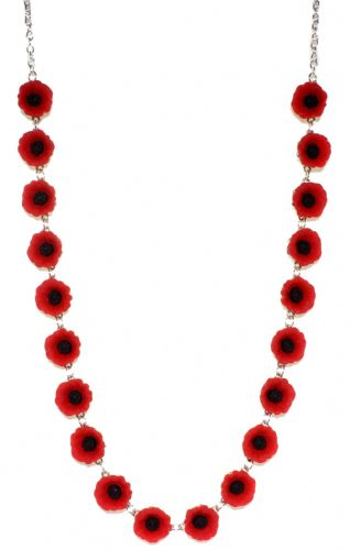 Bluebubble POPPY DAYS Red Flower Charm Necklace With FREE Gift Box
